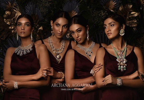 Models wearing jewellery collection by Archana Aggarwal Timeless Jewellery