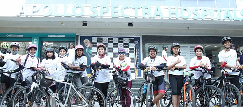 Women cyclists at the World Arthritis Day Cycle ride organised by Apollo Spectra Hospitals & Hyderabad Cyclists Group, on the eve of World Arthritis Day (October 12th), on Monday at Apollo Spectra Hospitals, Ameerpet.